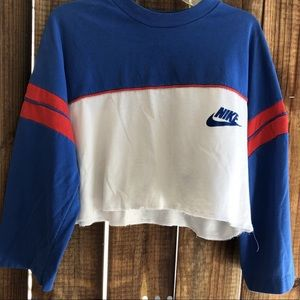 Red white and blue custom Nike crop top